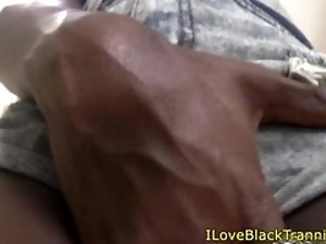 Black trans babe tugging cock in stockings