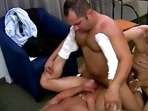 Muscular gay fuckers set a wild threesome